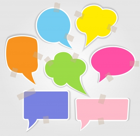 Illustration for Set of colorful speech bubbles with smooth shadow - Royalty Free Image