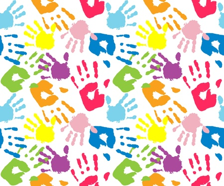 Kid's and mother handprint, seamless pattern