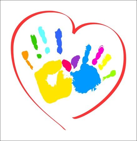 Illustration pour Mother s and kid s hands in a heart - image libre de droit