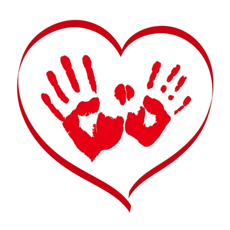 Illustration pour Man s and woman s red handprints in a heart on white background - image libre de droit