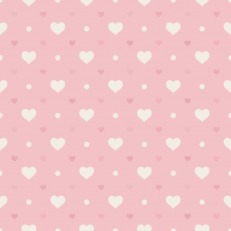 Retro seamless pattern  Hearts and dots on pink background