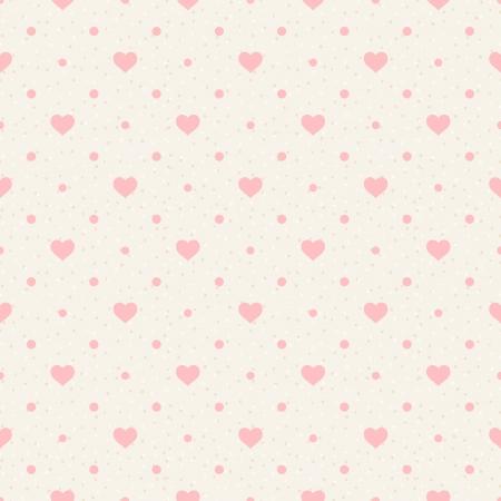 Illustration pour Retro seamless pattern  Pink hearts and dots on beige background - image libre de droit