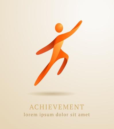 Business concept  Abstract human  Success achievement template