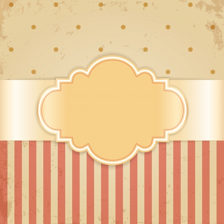 Golden vintage card  Glossy label on beige grunge background