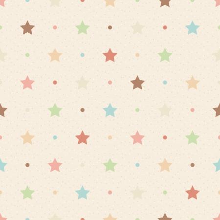 Foto de Retro seamless pattern  Color stars and dots on beige textured background - Imagen libre de derechos