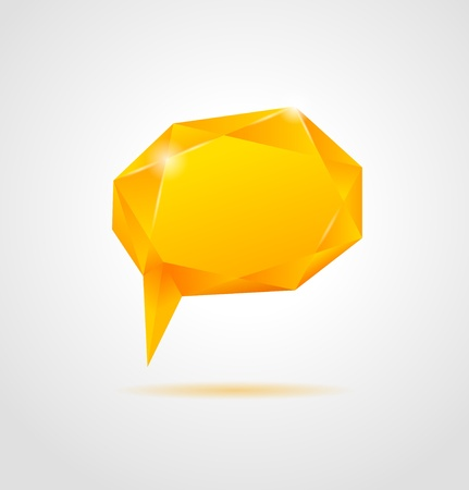 Abstract orange shiny geometric speech bubble on gray background  Vector Illustration