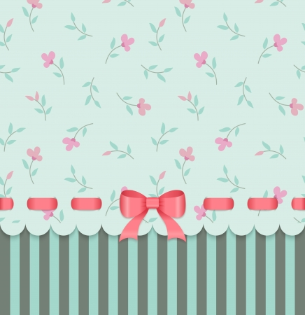 Illustration for Vintage invitation card with bow on green floral background  - Royalty Free Image