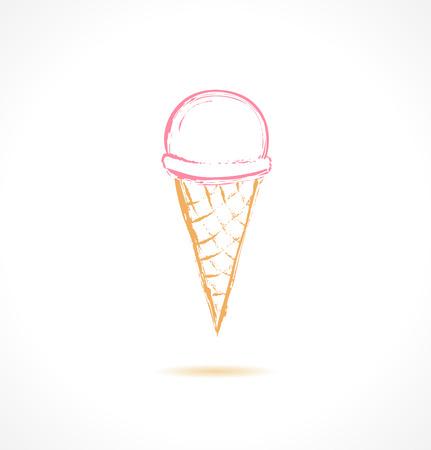 Ink pink ice cream icon. Vector illustration