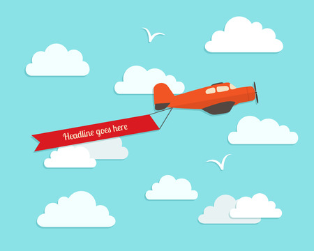 Airplane in the cloudy sky. Flat vector illustration.