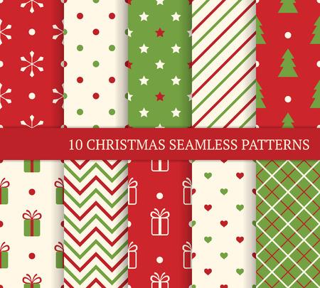 Foto de 10 Christmas different seamless patterns. Endless texture for wallpaper, web page background, wrapping paper and etc. Retro style. - Imagen libre de derechos