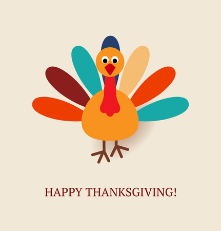 Cute colorful cartoon of turkey bird for Happy Thanksgiving celebration. Vector illustration. Can be use as greetings card, flyer, poster or banner.