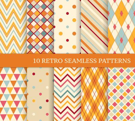 Illustration pour 10 retro different soft seamless patterns. Colorful geometric background. - image libre de droit