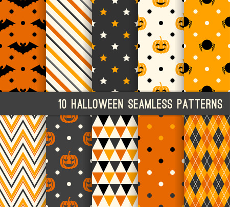 Ten Halloween different seamless patterns. Endless texture for wallpaper, web page background, wrapping paper and etc. Retro style.
