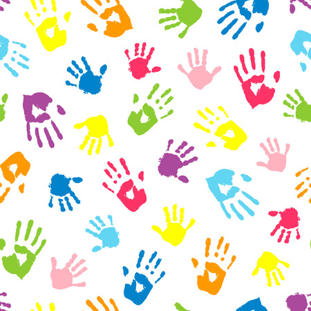 Illustration for Seamless background made from color handprints. Multicolor pattern for your design. - Royalty Free Image