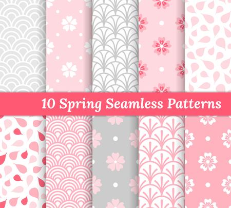 Illustration for Ten spring seamless patterns. Pink and gray romantic backgrounds. Endless texture for wallpaper, web page, wrapping paper and etc. Retro style. Flowers, waves and petals. - Royalty Free Image