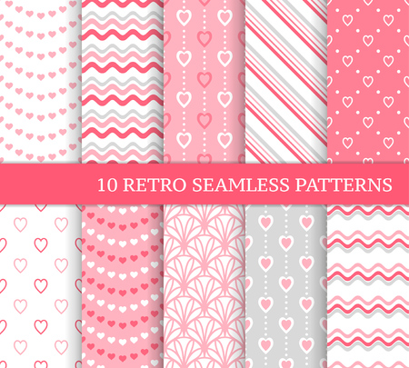 Illustration for Ten different seamless patterns. Romantic pink backgrounds for Valentine's or wedding day. Endless texture for wallpaper, web page, wrapping paper and etc. Retro love style. Waves, flowers and hearts - Royalty Free Image