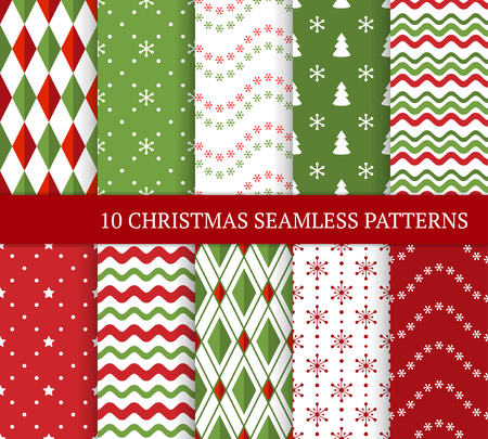 Photo for Ten Christmas different seamless patterns. Xmas endless texture for wallpaper, web page background, wrapping paper and etc. Retro style. Waves, snowflakes, argyles, Christmas trees and stars - Royalty Free Image