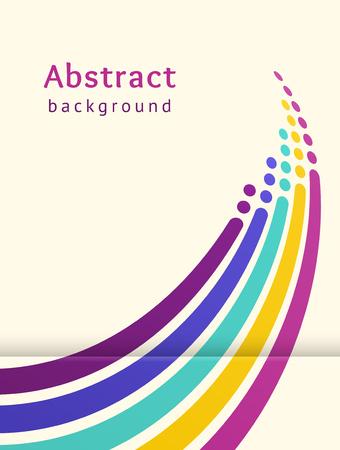 Ilustración de Colored stripes with circles over light background. Retro vector backdrop. Design template. Abstract lines directed upwards. Trendy color scheme - Imagen libre de derechos