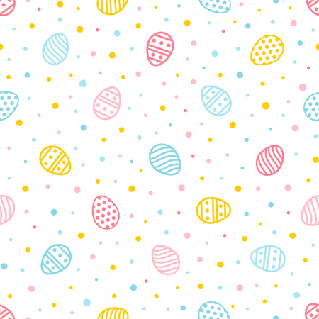 Ilustración de Easter seamless pattern. Colorful background with ornate eggs and dots. Endless texture for wallpaper, web page, wrapping paper and etc. Retro style.  - Imagen libre de derechos