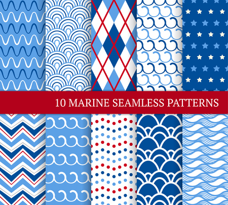 Illustration pour Ten marine different seamless patterns. Vector illustration for nautical design. Endless texture can be used for fills, web page background. Set of sea backdrop with zigzags, waves, tiles and dots. - image libre de droit