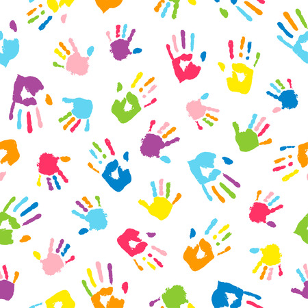 Illustration for Seamless background made from colorful handprints. Palms and fingers colored in rainbow colors.  Multicolor pattern for your design. - Royalty Free Image