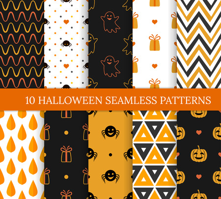 Illustration pour Ten Halloween different seamless patterns. Endless texture for wallpaper, web page background, wrapping paper and etc. Pumpkins and smiling ghosts, spiders, zigzags, triangles, leaves and gifts - image libre de droit