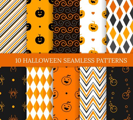 Illustration pour Ten Halloween different seamless patterns. Endless texture for wallpaper, web page background, wrapping paper and etc. Smiling cute pumpkins, spiders, potions, zigzags and spirals - image libre de droit