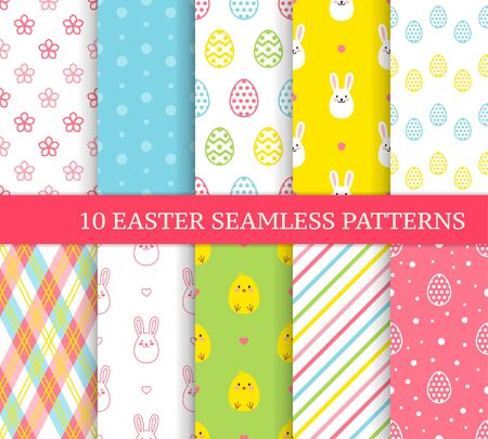 Illustration pour Ten different Easter seamless patterns. Endless texture for wallpaper, fill, web page background, texture. Colorful cute background with Easter bunnies, chicks and ornate eggs. - image libre de droit