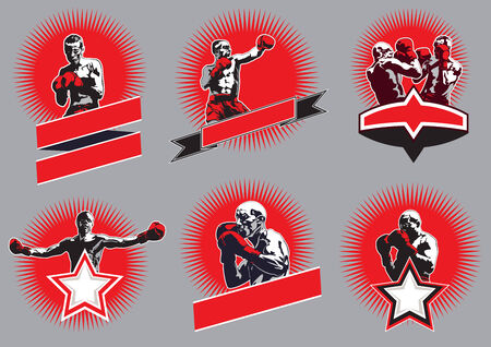 Set of six different vector combative sport icons or emblems showing a single boxer fighting, two boxers sparring and a champion