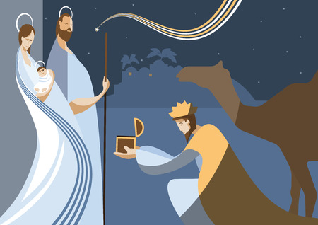 Nativity scene with the three wise men and the child Jesus. In modern flat color style.