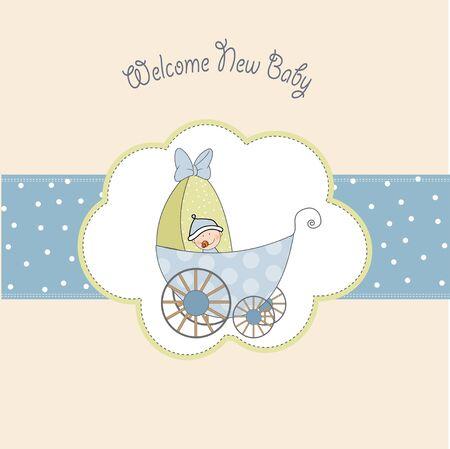 Illustration pour baby shower announcement card with pram  - image libre de droit