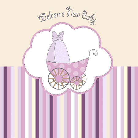 baby shower announcement card with pram