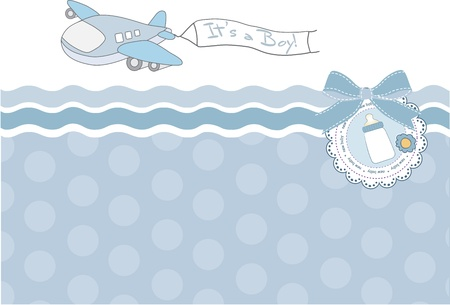 Illustration for new baby announcement card with airplane  - Royalty Free Image