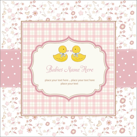 Photo for delicate babies twins shower card  - Royalty Free Image