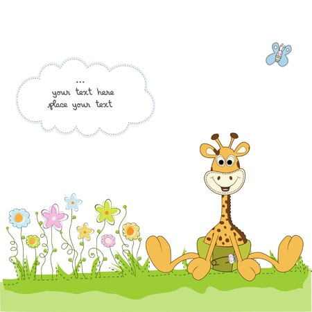 Illustration for new baby announcement with baby giraffe  - Royalty Free Image