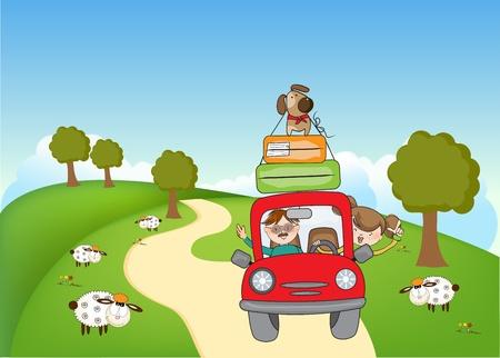 Illustration pour man and woman traveling by the car  - image libre de droit