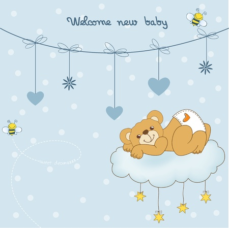 Illustration pour New baby shower card with spoiled teddy bear - image libre de droit