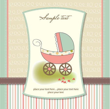 Illustration for baby card with pram  - Royalty Free Image