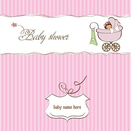 Illustration pour baby girl announcement card  - image libre de droit