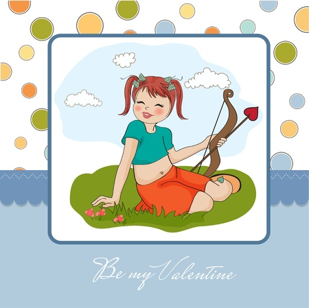 young pretty girl with cupid bow  valentine s day card