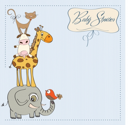 funny baby shower card with pyramid of animalsのイラスト素材