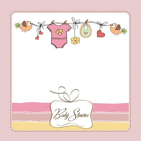 Illustration pour baby girl shower card  - image libre de droit