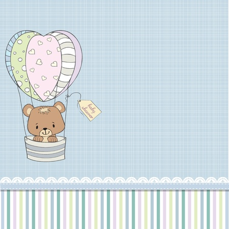 Illustration for delicate baby shower card with teddy bear - Royalty Free Image