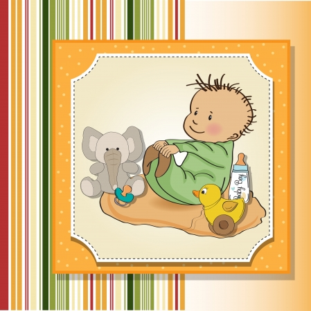 little baby boy play with his toy  baby shower card