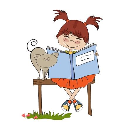 Illustration pour young sweet girl reading a book  - image libre de droit