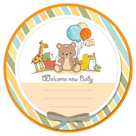 Illustration for baby shower card with toys - Royalty Free Image