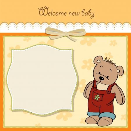 Illustration pour baby shower card with teddy - image libre de droit