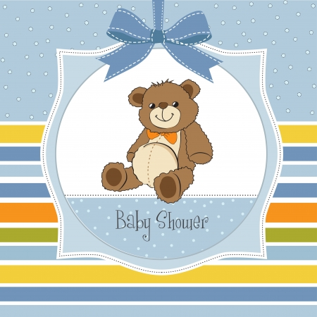 Illustration for baby shower card with cute teddy bear toy - Royalty Free Image