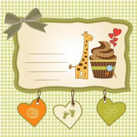 birthday greeting card with cupcake and giraffe