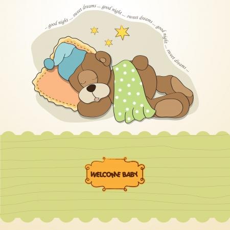 baby shower card with sleeping teddy bear